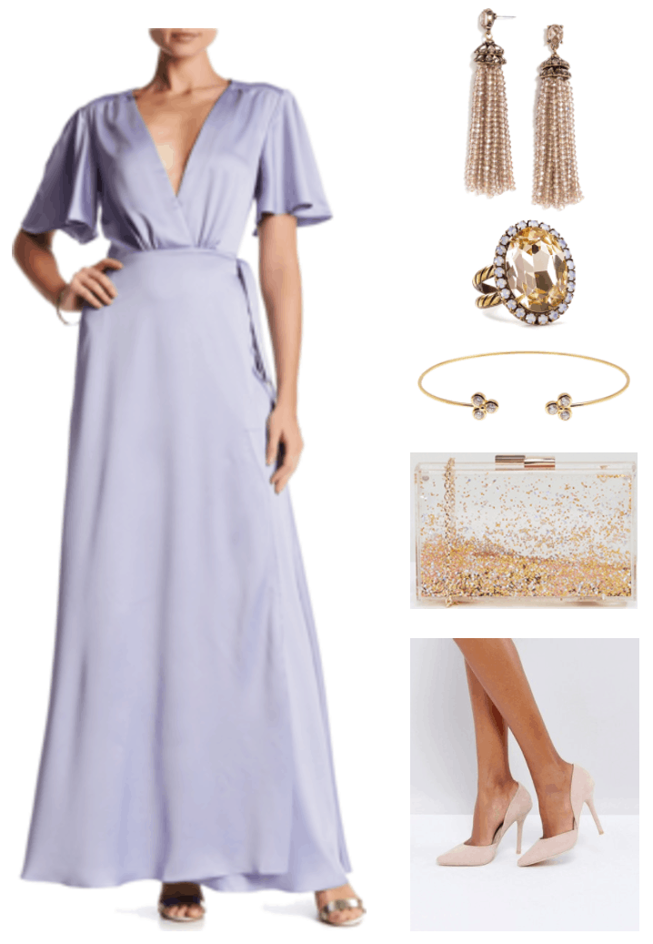 """""""Ask CF: What Should I Wear as a Bridesmaid on a Budget?"""" Outfit #4 featuring lavender kimono-sleeved gown with tie waist, champagne-pink beaded tassel earrings with champagne-pink stones, double gold band cocktail ring with oval-shaped peach stone bordered by mint stones, skinny gold open cuff bracelet with trio of clear stones on either side, clear metallic sparkle box clutch with gold chain-strap and hardware, pale pink d'orsay heels"""