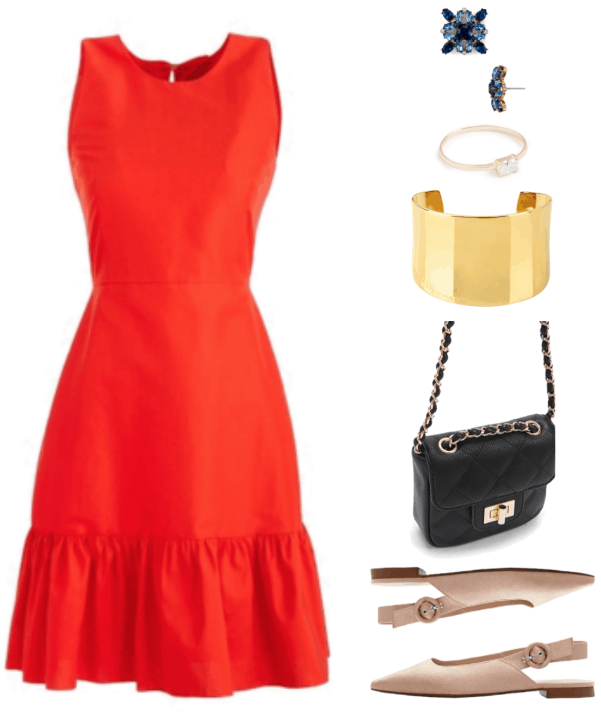 Red faille drop-waist sleeveless dress with ruffle hem, sky blue, dark blue, and clear kaleidoscope-esque stud earrings set in gold, gold ring with small sideways oval-shaped stone, wide gold cuff bracelet, small black quilted bag with chain strap and gold hardware, pale pinkish-beige pointed-toe slingback flats with round buckle