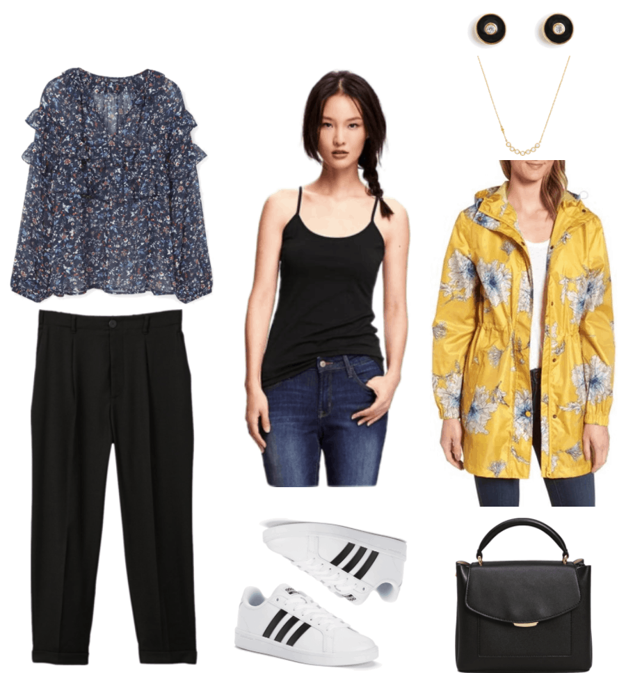 Rainy day outfits for school: Sheer navy blue floral long-sleeved blouse with ruffles across front and sleeves, black cropped relaxed-fit straight-leg pants with cuff, black camisole, adidas NEO Cloudfoam Advantage Stripe sneakers in white with black stripes, round black enamel disc earrings with clear stone at center and gold outlines, gold necklace with seven bezel-set clear stones, yellow raincoat with white-and-blue peony print and cinched waist, black pebbled tote with gold hardware