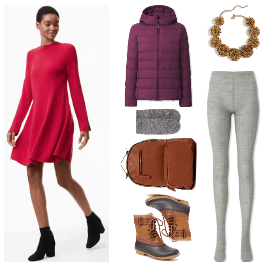 Red long-sleeved mock-neck swing sweater dress, purple hooded ultra-light parka, heather-charcoal and heather gray knit mittens, cognac-brown faux-leather backpack, cognac-brown and dark brown duck boots, gold
