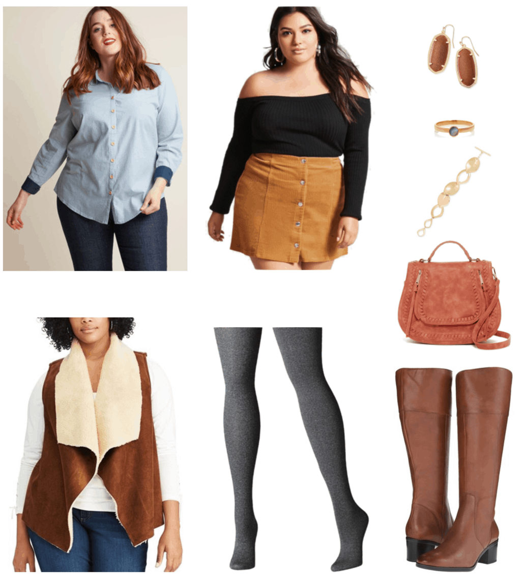 """Ask CF: How Do I Dress Fashionably and Comfortably as a Plus-Sized Woman?"" Outfit #2 featuring light-wash chambray long-sleeved button-up shirt with peter-pan collar, wooden buttons, and medium-blue inner-sleeve cuffs; camel-colored button-front corduroy mini skirt with silver buttons, large gold drop earrings with goldstone, gold ring with round labradorite stone, gold textured leaf chain-link bracelet with toggle clasp, cognac-brown faux-shearling open-front drapey vest, medium-gray tights, rust-colored saddle bag, brown knee-high boots with small heel"