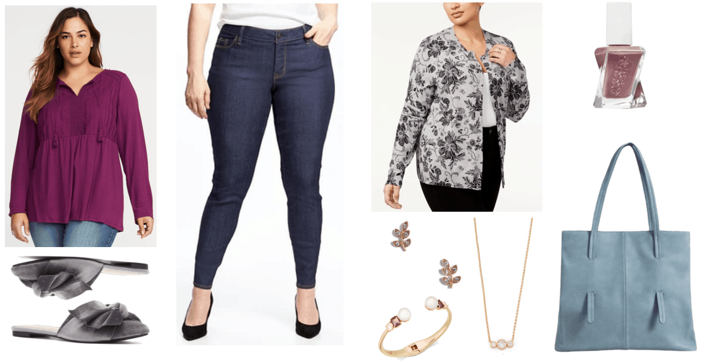 """Ask CF: How Do I Dress Fashionably and Comfortably as a Plus-Sized Woman?"" Outfit #4 featuring long-sleeved relaxed-fit magenta split-neck boho blouse with tassels, gray velvet pointed-toe mules with bows, dark-wash skinny jeans, light gray cardigan with allover gray floral pattern, gold branch stud earrings with pavé clear stones, gold cuff bracelet with pearls, rectangular purple stones, and round pale pink stones, gold necklace with three larger round clear stone surrounded by two smaller round clear stones, Essie Gel Couture Nail Polish in ""Take Me to Thread,"" a grayish-mauve shade; light blue pebbled tote"