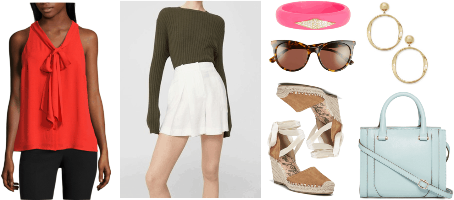 """Ask CF: How Can I Dress More Maturely Without Looking Boring?"" Outfit #1 featuring red sleeveless tie-neck blouse, white drapey high-waisted shorts, neon-pink resin bangle bracelet with clear stone diamond-shaped embellishment, brown tortoise cat-eye sunglasses, light-brown suede espadrille wedges with ankle ties, gold drop hoop earrings, mint-blue top-handle cross-body bag with shoulder strap and gold hardware"