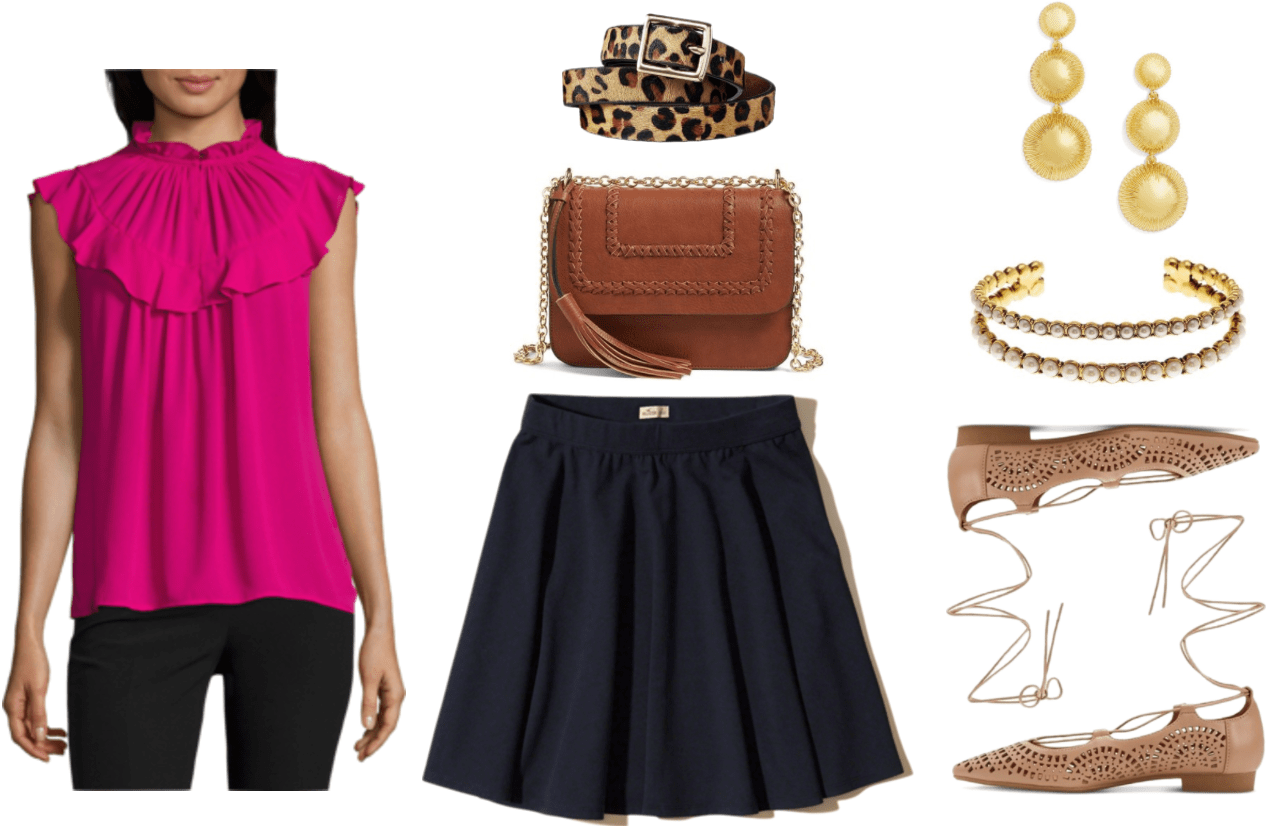 """Ask CF: How Can I Dress More Maturely Without Looking Boring?"" Outfit #2 featuring bright pink short-sleeved blouse with high keyhole neckline and ruffles, leopard-patterned calf-hair belt with silver buckle, cognac-brown shoulder bag with gold chain strap, braided details, and tassel detail; navy blue skater skirt, gold ball drop earrings, gold double-cuff bracelet with pearls, beige laser-cut pointed-toe lace-up ballet flats"