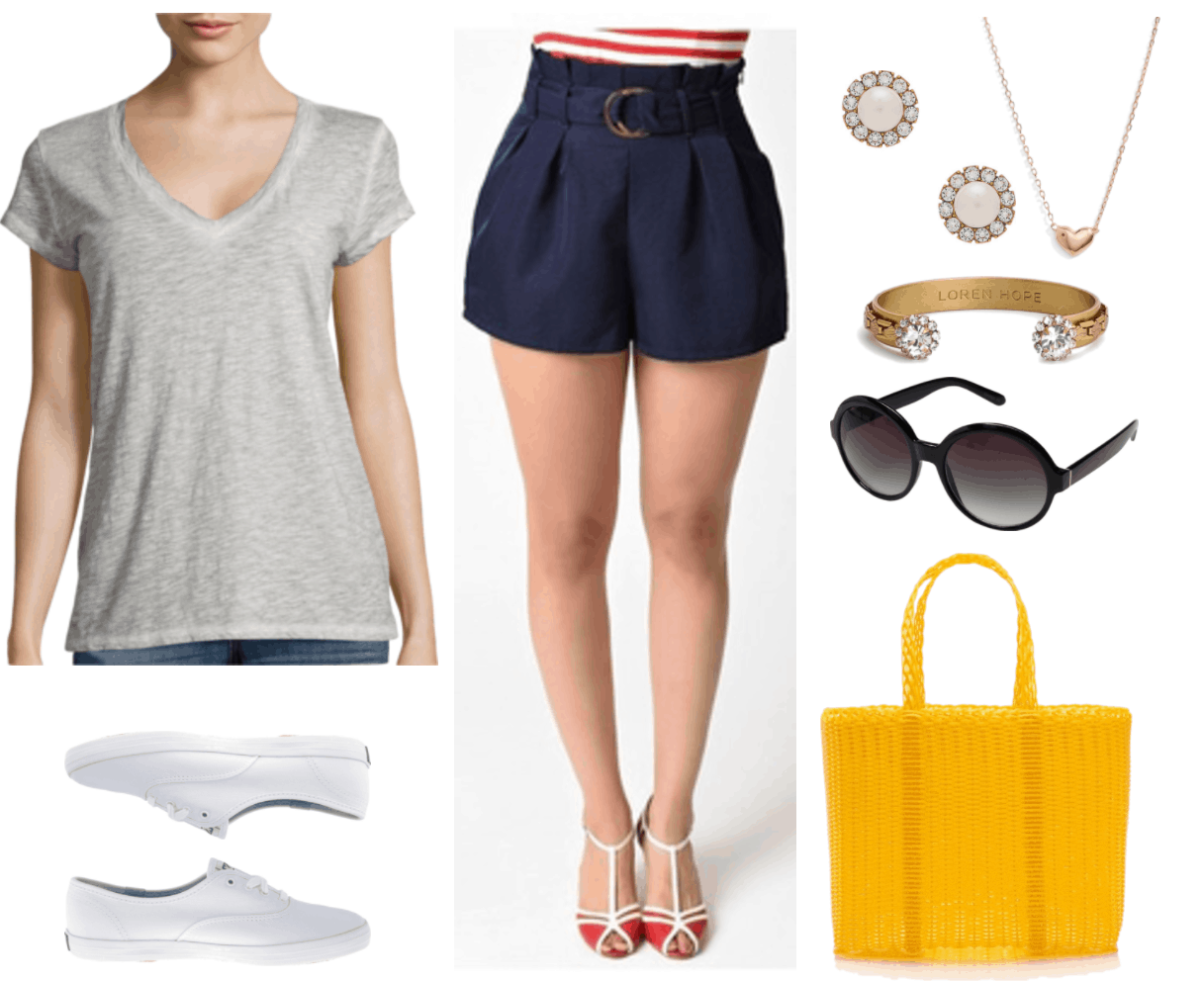 """Ask CF: How Can I Dress More Maturely Without Looking Boring?"" Outfit #3 featuring light-gray relaxed-fit v-neck short-sleeved t-shirt with fading at the seams, white canvas lace-up Keds sneakers, navy blue pleated high-waisted paper-bag shorts with belt, pearl earrings with surrounding clear crystals, gold heart necklace with tiny ruby on upper-left side, gold cuff bracelet with woven detail and clear crystals surrounded by smaller clear crystals, black round sunglasses, yellow woven tote"
