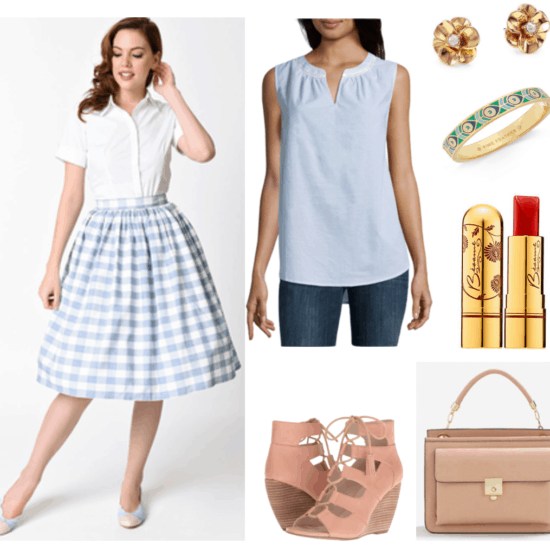 """""""Ask CF: How Can I Dress More Maturely Without Looking Boring?"""" Outfit #4 featuring pale-blue-and-white gingham midi skirt, pale-blue split-neck sleevless blouse, pinkish-beige gladiator lace-up wedges, gold flower earrings with clear crystal center, gold bangle bracelet with indigo, blue, white, and green peacock pattern; Besamé Cosmetics Classic Color Lipstick in """"Red Hot Red 1959,"""" a warm red; beige cross-body bag in beige with top-handle and front pocket"""