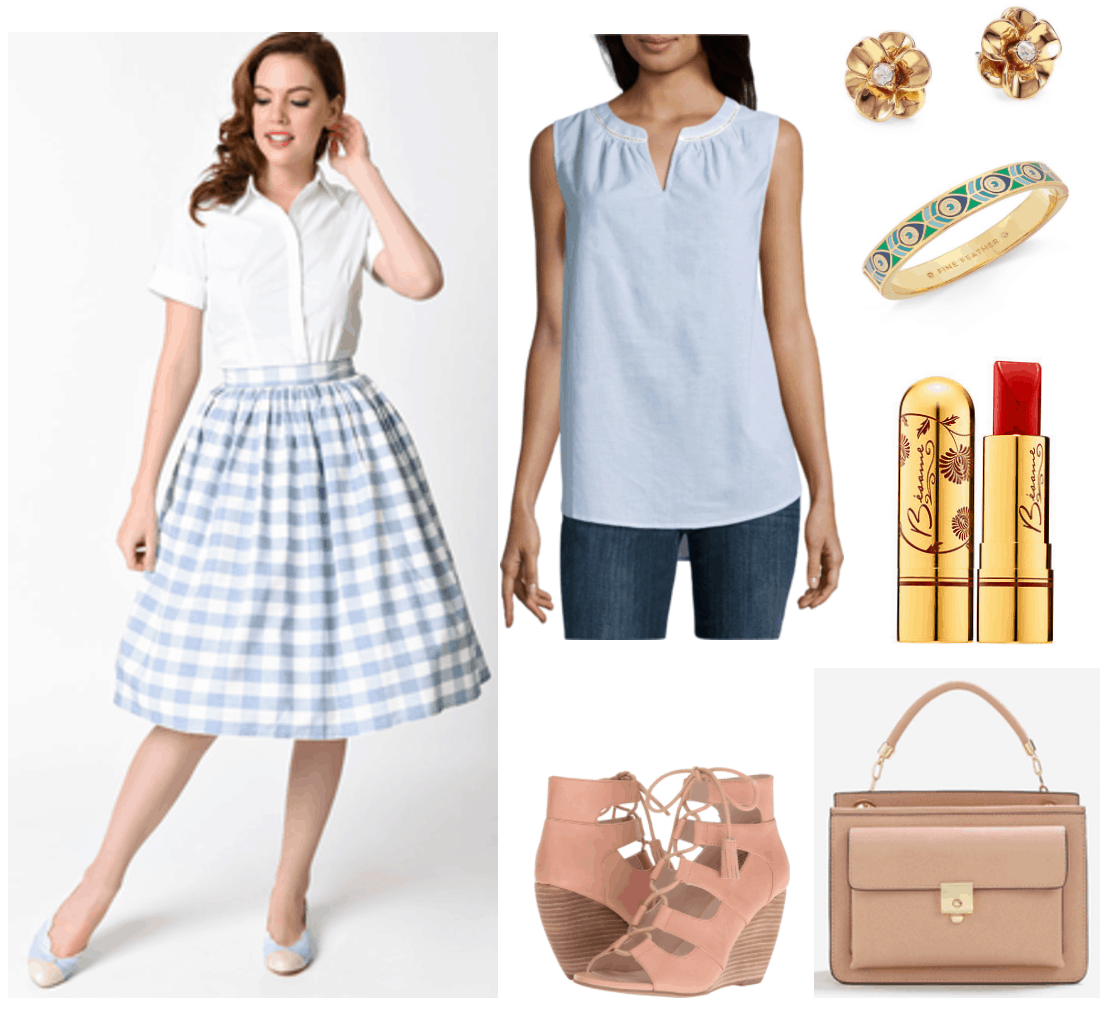 """Ask CF: How Can I Dress More Maturely Without Looking Boring?"" Outfit #4 featuring pale-blue-and-white gingham midi skirt, pale-blue split-neck sleevless blouse, pinkish-beige gladiator lace-up wedges, gold flower earrings with clear crystal center, gold bangle bracelet with indigo, blue, white, and green peacock pattern; Besamé Cosmetics Classic Color Lipstick in ""Red Hot Red 1959,"" a warm red; beige cross-body bag in beige with top-handle and front pocket"
