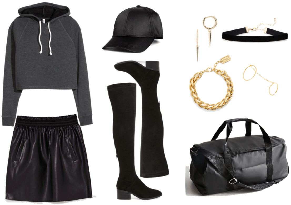 Dark gray cropped hoodie sweatshirt with white drawstrings, black faux-leather elastic-waist a-line mini skirt with pockets, black satin baseball cap, black faux-suede over-the-knee boots with block heel, small gold hoop earrings with clear stones and dangling spikes, large gold braided link bracelet, black velvet choker with gold clasp and hardware, gold two-finger ring with chain, black duffle bag