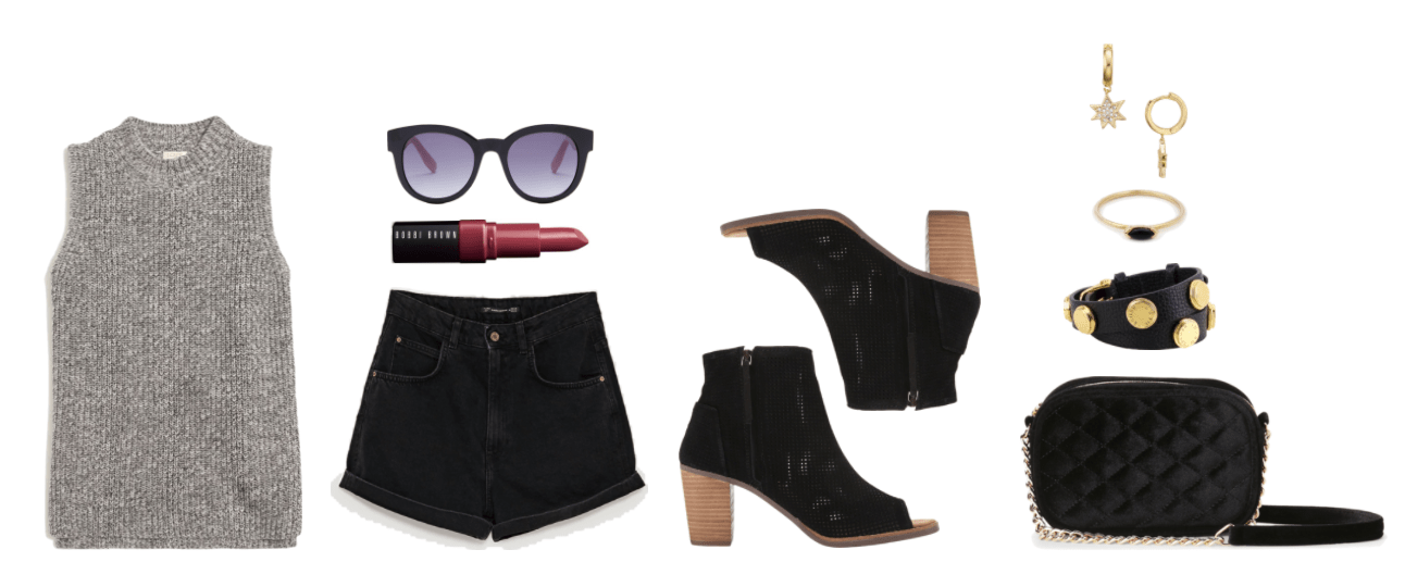 Black-and-white marled sleeveless sweater, black round sunglasses with purple lenses, Bobbi Brown Crushed Lip Color in