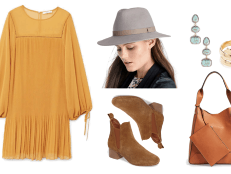 Mustard-colored long-sleeved pleated dress with ties at ends of sleeves, light gray wide-brim hat with beige faux leather band, tannish-brown chelsea boots, triple turquoise drop earrings set in gold with pavé clear stones, gold wrap ring, cognac-brown hobo bag with rectangular pouch attached to handle