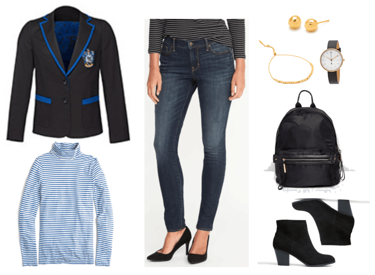 """""""Ask CF: How Do I Wear a Harry PotterFandom Blazer Without Looking Geeky?"""" Outfit #1 featuring black blazer with bright blue piping and Ravenclaw crest, ivory-and-blue long-sleeved skinny-striped turtleneck, dark-wash skinny jeans, gold faceted ball stud earrings, gold adjustable bracelet with gold beads, watch with gold hardware and black leather band, black backpack, black Western block-heel ankle boots"""