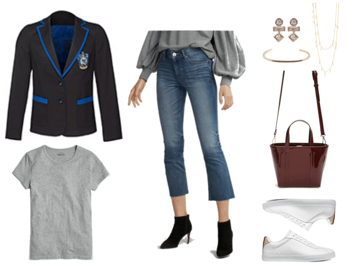 """""""Ask CF: How Do I Wear a Harry Potter Fandom Blazer Without Looking Geeky?"""" Outfit #4 featuring black blazer with bright blue piping and Ravenclaw crest, gray short-sleeved crewneck t-shirt, cropped flare jeans in medium wash, gold stud earrings with circular, rectangular, and diamond-shaped clear stones; skinny cuff bracelet with black stones, gold long wrap necklace with bars, mini patent burgundy tote with crossbody strap and top handle, white sneakers with metallic gold detail at back"""