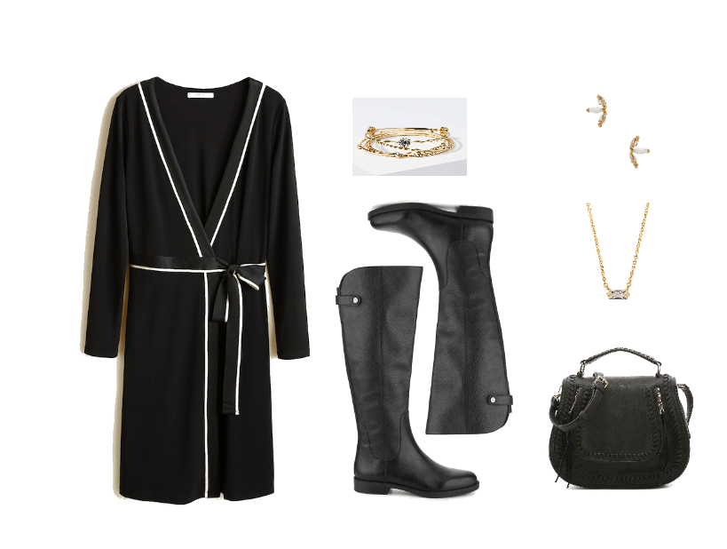 Outfit for a job fair: Black wrap dress, knee-high boots, gold jewelry, mini bag