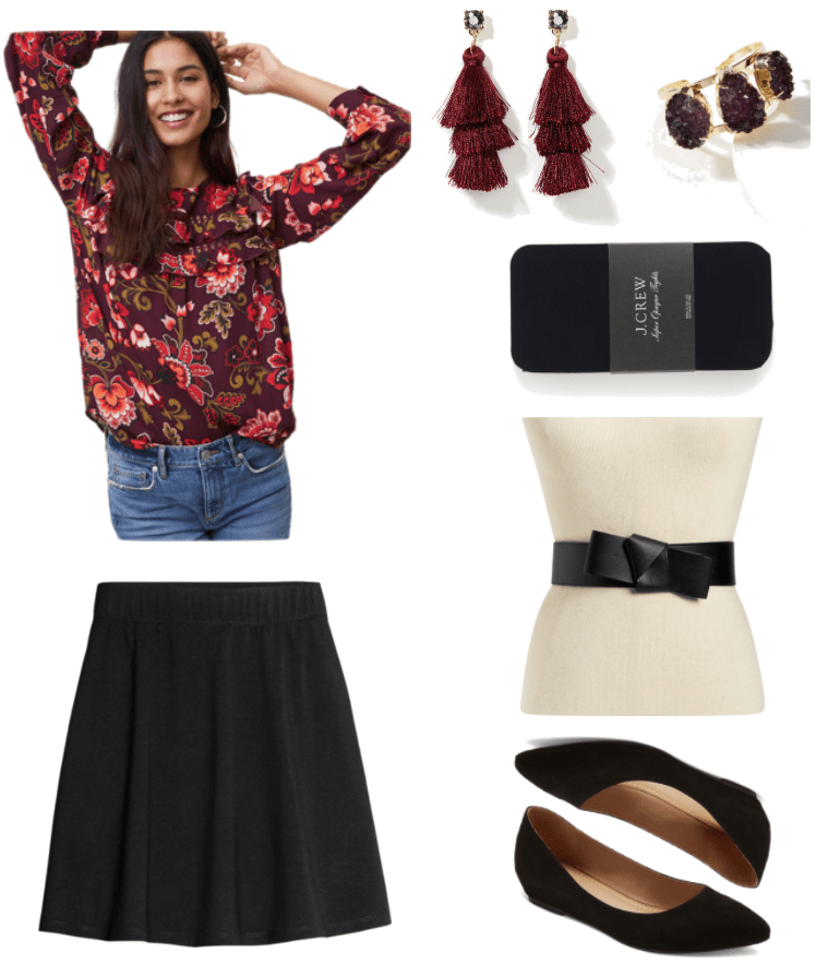 Plum-colored long-sleeved blouse with red, white, black, and gold floral print and cut-outs and ruffles at yoke; black jersey circle skirt, drop earrings with maroon triple-tiered tassel hanging from blue-gray stone set in gold, gold cuff bracelet with three purple druzy stones, black super-opaque tights, black faux-leather origami-style bow belt with elasticized back, black faux-suede pointed-toe flats with small hidden wedge