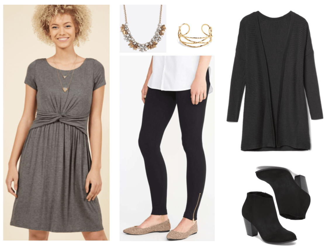 Charcoal-gray heathered short-sleeved t-shirt-dress with knot detail at waist, gold floral statement necklace with clear stones and gold leaf-shaped charms, gold criss-cross hammered cuff bracelet, black leggings with gold zipper detail at ankle, relaxed-fit dark gray long ribbed open-front cardigan, black faux-suede block-heel ankle boots