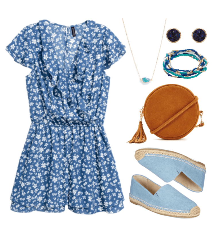 """Ask CF: What Should I Wear On a Low-Key First Date?"" Outfit #1 featuring blue and white short-sleeved floral romper, gold necklace with teal stone, gold stud earrings with dark blue druzy stones, set of blue, turquoise, white, and gold beaded bracelets, round cognac brown cross-body bag with tassel and gold hardware, pale blue denim flat espadrille flats"