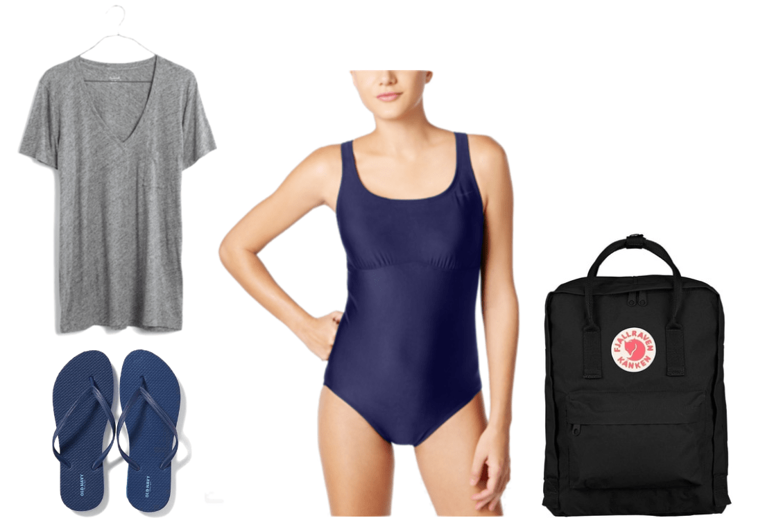 """Ask CF: What Should I Pack For My Job as a Camp Counsellor?"" Outfit #5 featuring gray heathered v-neck t-shirt with left chest pocket, navy blue flip flops, navy blue one-piece swimsuit, black backpack with red-and-white Fjallraven logo"