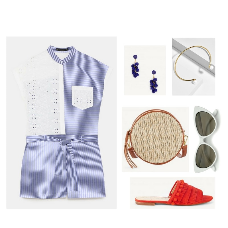 Blue-and-white-striped cap-sleeve button-up romper with white eyelet on upper left half, white eyelet upper right pocket, and self-tie belt; gold drop earrings with cobalt-blue beaded balls, gold open cuff bradelet with pearls on either end, round woven beige straw bag with cognac-brown faux-leather piping, strap, and zipper pull; white cat-eye sunglasses with dark gray lenses, coral-red slide sandals with pom-poms and fringe