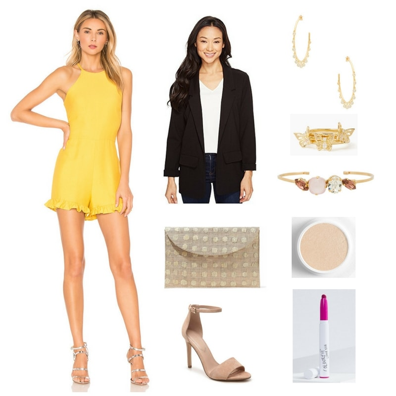 Gen-Z yellow halter-neck romper with ruffles at bottom, black ponte knit boyfriend blazer, beige woven envelope clutch with embroidered beige dots, beige suede ankle-strap stiletto sandals, large gold hoops with small dangling clear stones, set of three stackable gold rings with butterflies and clear stones, gold cuff bracelet with medium pink ellipse-shaped stones, pale pink opaque rounded-square-shaped stone, and clear round stone, Colourpop Super Shock Highlighter in