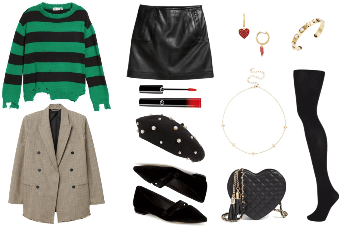 Green-and-black rugby-stripe destroyed crewneck sweater, light brown checked oversized double-breasted blazer with frayed hem, black faux-leather mini skirt with slit pockets, Armani Ecstasy Lacquer in