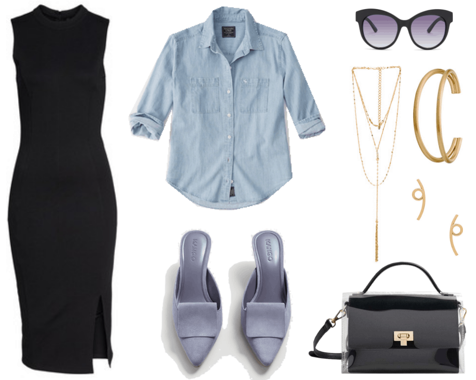 Black sleeveless mock-neck sheath dress with side slit, light-wash denim button-up shirt with front chest pockets on either side, lavender kitten-heel pointed-toe mules with fold-over detail, black cat-eye sunglasses with ombré purple lenses, gold multi-layered lariat necklace with clear stone detail and chain fringe, gold open double cuff, gold loop stud earrings, black top-handle bag with cross-body strap, gold hardware, and clear vinyl cover