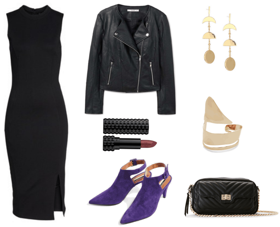 """Black sleeveless mock-neck sheath dress with side slit, black faux-leather motorcycle jacket with silver hardware, Kat Von D Studded Kiss Crème Lipstick in """"Mercy,"""" a metallic garnet berry shade; Ultra Violet suede pointed-toe backless shoes with ankle strap and cone heel, gold moon phases drop earrings, gold sliced cuff bracelet, black quilted bag with front pocket with turn-lock closure and gold chain strap and hardware"""