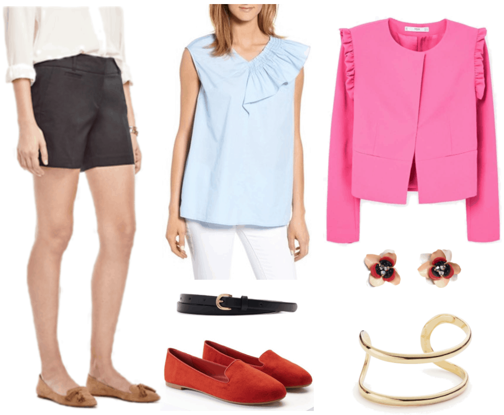 """""""Ask CF: How Do I Style Shorts in a Professional Way?"""" Outfit #1 featuring black shorts, pale blue sleeveless blouse with smocked ruffle on left side, black belt with gold buckle, rusty-red loafers, bright pink blazer with ruffles at shoulders, white, pale pink, red, and black flower earrings with black beads at center; gold double open cuff bracelet"""