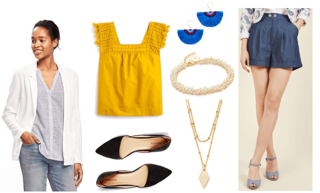 """""""Ask CF: How Do I Style Shorts in a Professional Way?"""" Outfit #2 featuring white buttonless blazer, golden-yellow sleeveless top with eyelet detail and fringe at arm openings, black pointed-toe d'orsay ballet flats, gold earrings with cobalt-blue fan fringe and black, pink, white, and cobalt-blue embroidery; gold beaded bracelet with ivory beads, gold double-layer necklace with gold beads and diamond-shaped charm, high-waisted medium-blue chambray shorts"""