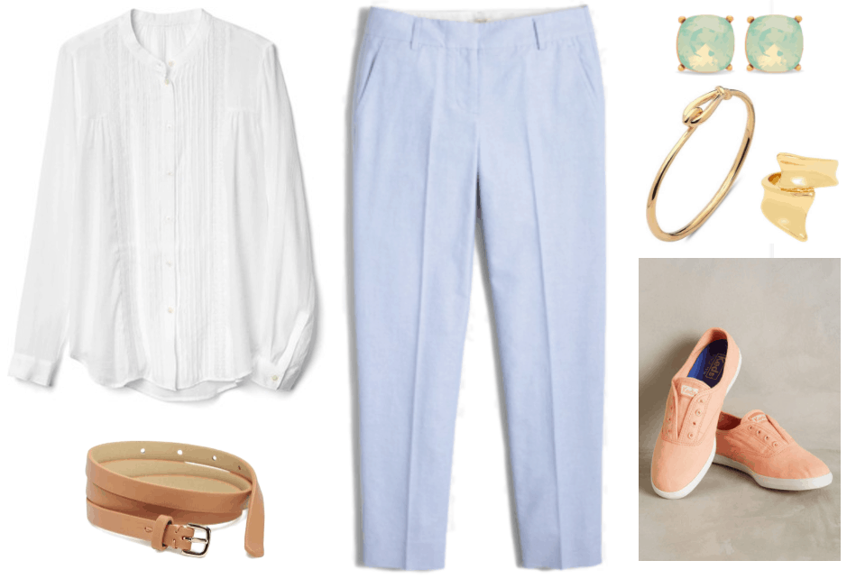 """""""Ask CF: How Do I Make Sneakers Workplace Appropriate?"""" Outfit #1 featuring white long-sleeved pintucked blouse with lace panels, beige skinny belt with gold hardware, pale blue cropped straight-legged trousers, stud earrings with mint green stones in gold setting, gold bangle with hook-and-loop closure, thick gold wrap ring, peach slip-on Keds sneakers"""