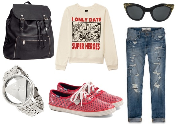 boyfriend jeans, graphic sweater, sneakers, backpack, watch, sunglasses