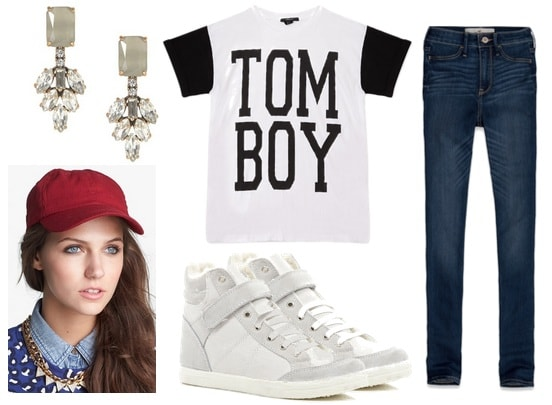 High waisted jeans, t-shirt, sneakers, baseball cap, earrings