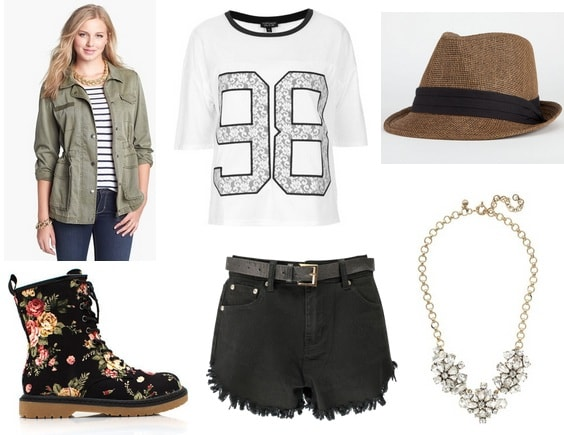Shorts, tee, jacket, boots, hat, necklace