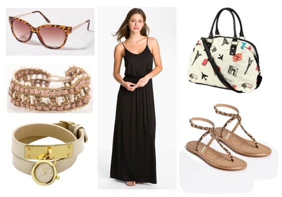 What to wear while touring on vacation: Dress, sandals, watch, bracelet, sandals