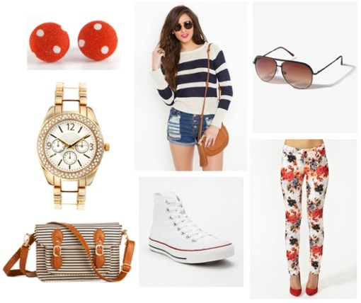 What to wear while touring on vacation: Pants, sweater, sneakers, sunglasses, striped tote, polka dot earrings
