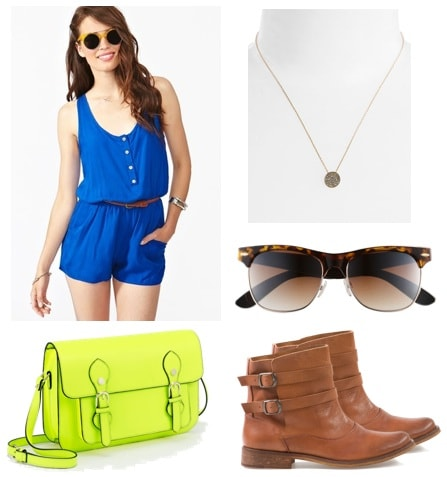 What to wear while touring on vacation: Romper, necklace, sunglasses, comfy ankle booties, cross-body bag