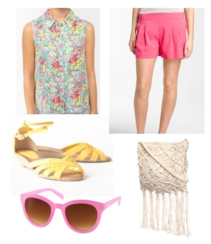 What to wear while traveling: Shorts, sunglasses, sandals, collared top