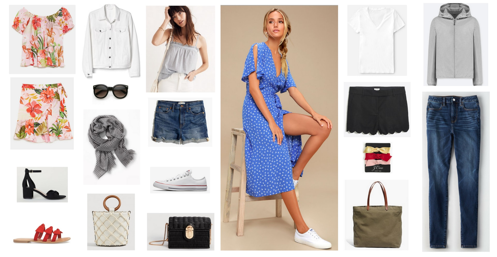Vacation capsule wardrobe for NYC, SF, and Las Vegas: Two piece floral set, white denim jacket, blue tank top, distressed denim shorts, sunglasses, red sandals, white Converse sneakers, houndstooth scarf, bucket bag, crossbody bag in black, black heels, blue open shoulder midi dress in blue polka dot, white v-neck tee, black scalloped shorts, hair ties, waterproof tote bag, gray zip up hoodie, skinny jeans