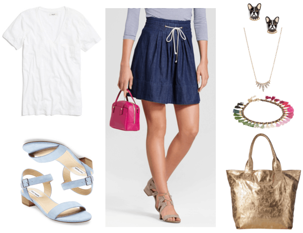 First week of college outfits: Look featuring white v-neck short-sleeved t-shirt, pale blue ankle-strap sandals with very small wooden block heel, high-waisted dark-wash a-line denim skirt with white drawstring ties, French Bulldog stud earrings with clear stone