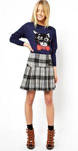Asos cat sweater plaid skirt