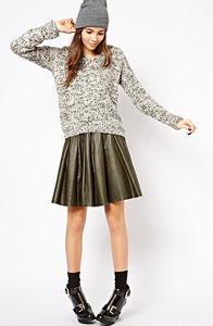 Asos gray sweater green skirt