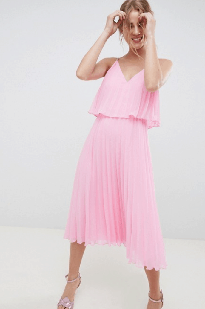 Strappy tiered bubblegum-pink v-neck tiered pleated midi dress