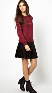 Asos red sweater black skirt