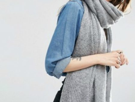 Asos gray knit oversized scarf