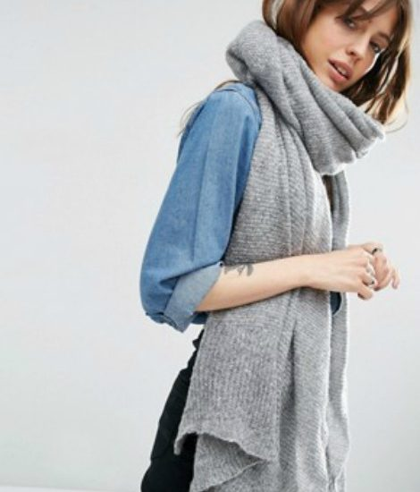 Asos gray knit oversized scarf