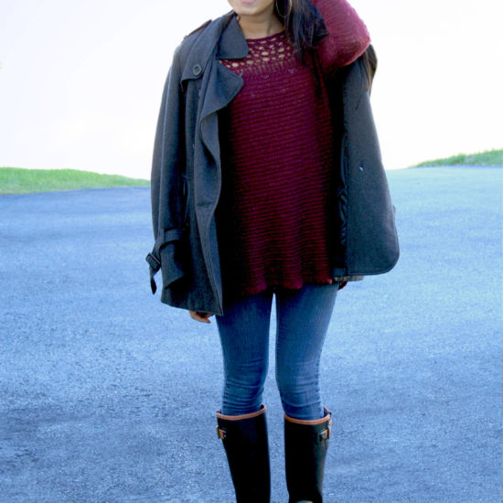 Fall fashion on campus at Assumption College: Red sweater, gray pea coat, skinny jeans, knee high boots