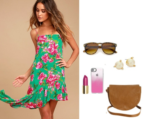 How to wear an asymmetrical dress during the day: Daytime outfit for class including a pink and green floral print dress with ruffle hem, brown western shoulder bag, brown tortiseshell sunglasses, pearl earrings, pink ombré phone case