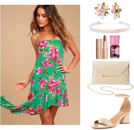How to wear an asymmetrical dress for a night out: Asymmetrical dress outfit with a pink and green floral dress, beige choker necklace, floral stud earrings, beige chain strap bag, nude sandals