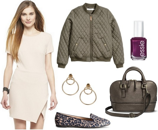 Asymmetrical dress, quilted bomber jacket, leopard loafers