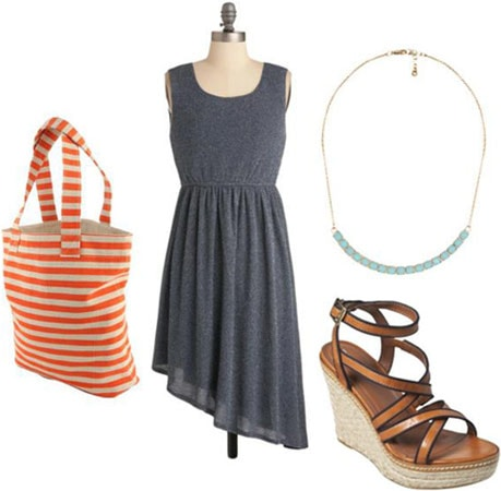 How to wear an asymmetrical hem dress with a stripe tote bag, wedge heels and a statement necklace