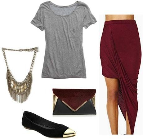 Asymmetrical hemline outfit